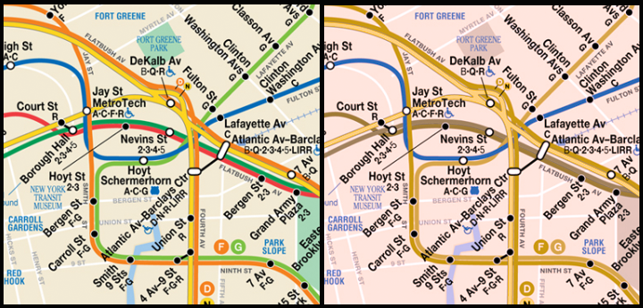 Comparison of what a color-coded subway map looks like for viewers with and without colorblindness