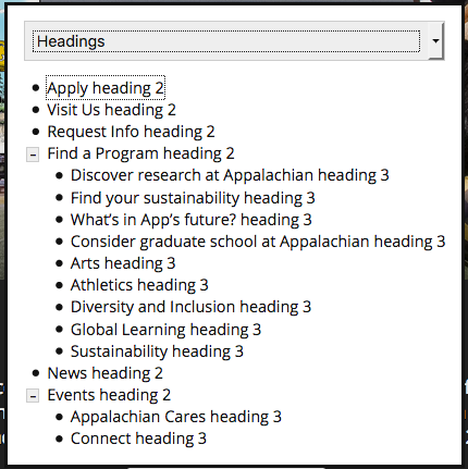 Headings menu on appstate.edu that a screen reader user would use to navigate